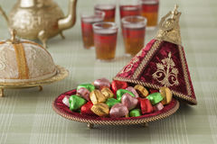 Moroccan festive sweets. And tea Royalty Free Stock Image