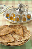 Moroccan filled Msemmen and tea Stock Images