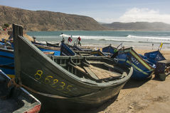 Moroccan fishing and surfing village. Imsouane is a small fishing village and for tourists who like to practice surfing Stock Image
