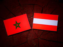 Moroccan flag with Austrian flag on a tree stump  Stock Images