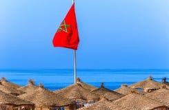 Moroccan flag on the beach in Agadir Stock Image