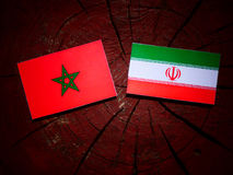 Moroccan flag with Iranian flag on a tree stump isolated Royalty Free Stock Images