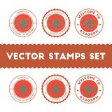 Moroccan flag rubber stamps set. National flags grunge stamps. Country round badges collection Stock Photography