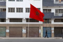 Moroccan flag waving stock images