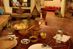 Moroccan Foods. Various Moroccan foods for dinner at a restaurant in Meknes, Morocco stock photo