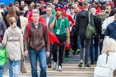 Moroccan football fans before the match with Spain Stock Photo