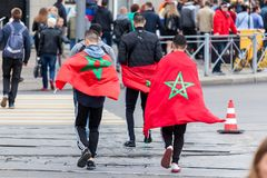 Moroccan football fans before the match with Spain Stock Images
