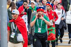 Moroccan football fans before the match with Spain Stock Photos