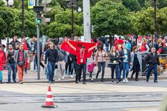 Moroccan football fans before the match with Spain Stock Image