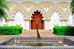 Moroccan garden and architecture royalty free stock photo