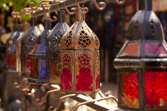 Moroccan glass and metal lanterns lamps Stock Images