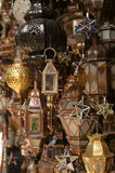 Moroccan glass and metal lanterns lamps Stock Photos