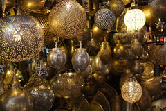 Moroccan glass and metal lanterns lamps in Marrakesh. Souq Stock Image