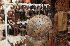 Moroccan glass and metal lanterns lamps in Marrakesh souq Stock Photos