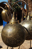 Moroccan glass and metal lanterns lamps in Marrakesh souq Stock Photography