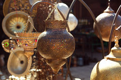 Moroccan glass and metal lanterns lamps in Marrakesh souq Royalty Free Stock Images