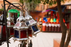 Moroccan glass and metal lanterns lamps in  souq Royalty Free Stock Photo