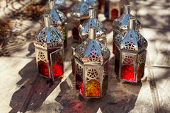 Moroccan glass and metal lanterns lamps in souq Stock Images