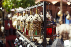 Moroccan glass and metal lanterns lamps in souq Royalty Free Stock Photos