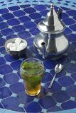 Moroccan glass of mint tea Royalty Free Stock Image