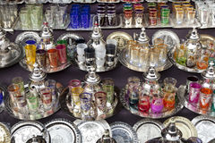 Moroccan glassware and teapots for sale Royalty Free Stock Image