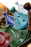 Moroccan handmade pottery royalty free stock photo