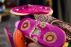 Moroccan handmade traditional shoes stock photos