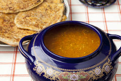 Moroccan harira soup and filled pancakes Stock Image