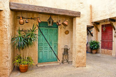 Moroccan home and courtyard stock image