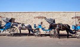 Moroccan horse-drawn carriage on the street in Essaouira, Morocco Royalty Free Stock Image