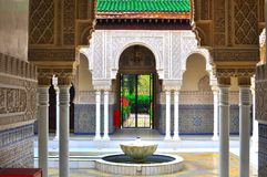 Moroccan and islamic pavilion architecture. A beautiful moroccan style pavilion and garden Royalty Free Stock Photo