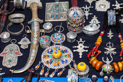 Moroccan jewelry. Full frame shot ofMoroccan traditional jewelry on a craft market Royalty Free Stock Photography