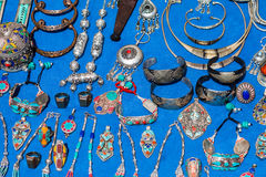 Moroccan jewelry. Full frame shot ofMoroccan traditional jewelry on a craft market Stock Photos