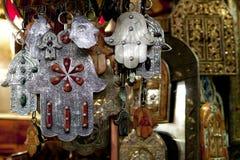 Moroccan Khamsa hamsa Hands of Fatima Good Luck. In medina souk stock images