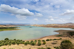 Moroccan lake. Panoramic view of a moroccan lake not far from the city of Fez Royalty Free Stock Photos
