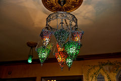Moroccan lamps made of stained glass. A few lights. Warm Royalty Free Stock Photo