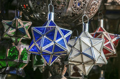 Moroccan lamps are sold at the bazaar Royalty Free Stock Photography