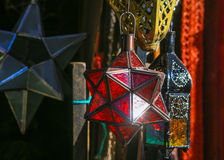 Moroccan lamps are sold at the bazaar Stock Photography