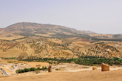 Moroccan Landscape. Panoramic shot of the landscape near Fes Royalty Free Stock Photography