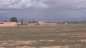 Moroccan landscape from driving aircraft stock footage