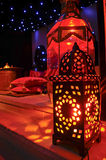 Moroccan lanterns. Revealing beautiful ambient light from candles inside a Ramadan tent Royalty Free Stock Images