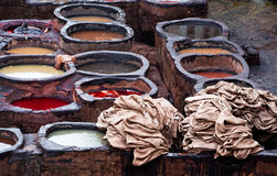 Moroccan leather factories, ancient craft Stock Images
