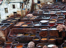 The Moroccan leather factories, ancient craft Royalty Free Stock Photo