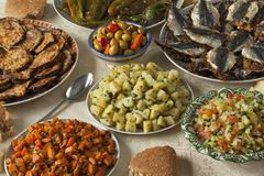 Moroccan meal with a variety of dishes Stock Image