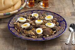 Moroccan meat, plums and eggs Royalty Free Stock Photography