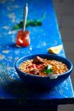 Moroccan meatball couscous soup. Stock Photos