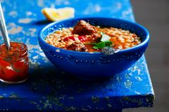Moroccan meatball couscous soup. Royalty Free Stock Photography