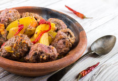 Moroccan meatballs with peppers Royalty Free Stock Image