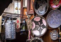 Moroccan metal lamps and ceramic in medina of Marrakesh Stock Photo