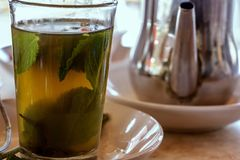 Moroccan mint tea in cups stock photos